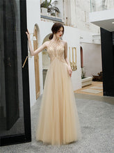 Jewel Tulle Long Prom Dresses Keyhole Evening Gown With Beaded PO354