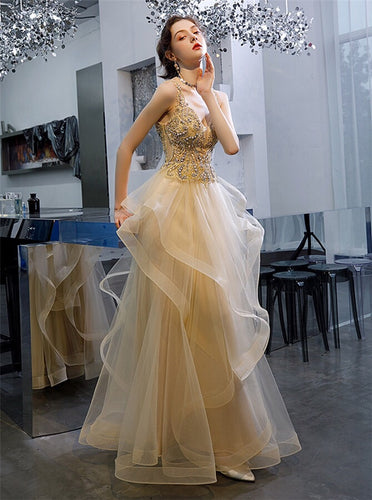 Princess Ruffles Tulle Long Prom Dresses Beaded Formal Evening Gown PO353
