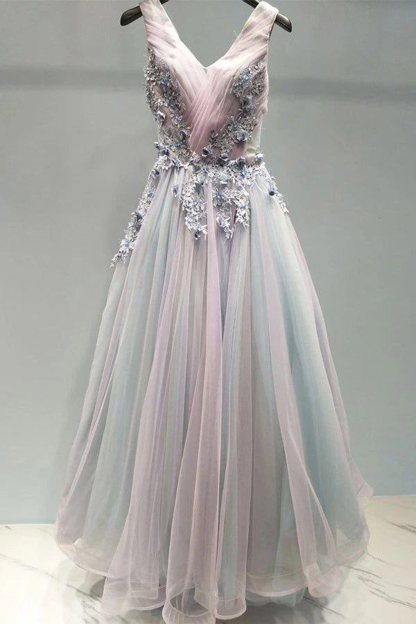 Appliques Long Prom Dress A-line V Neck Tulle Evening Dress PO434