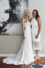 Gorgeous Strapless Sweetheart A Line Lace Boho Wedding Dress W714