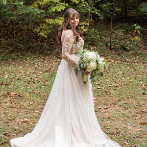 A-Line Long Sleeves Chic Appliques Backless Bohemian Wedding Dresses W710