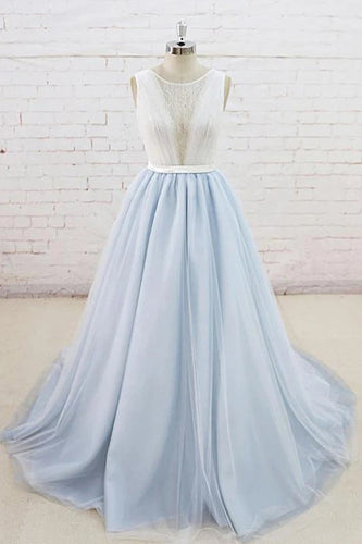 Light Blue Tulle Sheer Back A Line Round Neck Formal Prom Dress PO437