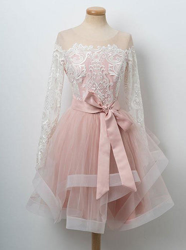 Round Neck Lace Long Sleeves Tulle Short Prom Dress, Pink Bowknot Sweet 16 Dress OP327