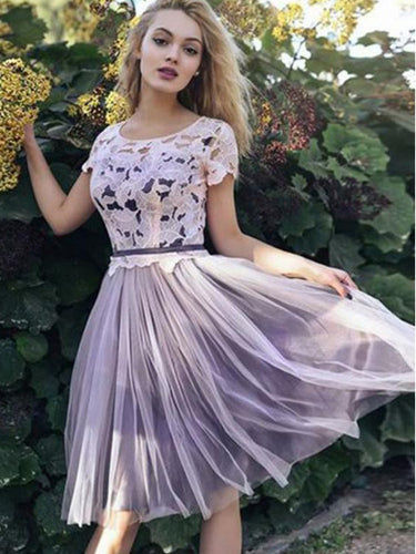 Short Sleeves Lace Bodice Short Homecoming Dress, Cheap Tulle Party Dress Online, OP149