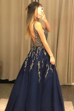 V Neck Line Sexy Party Dress Navy Blue Appliques Long Prom Dress With Beading PO436