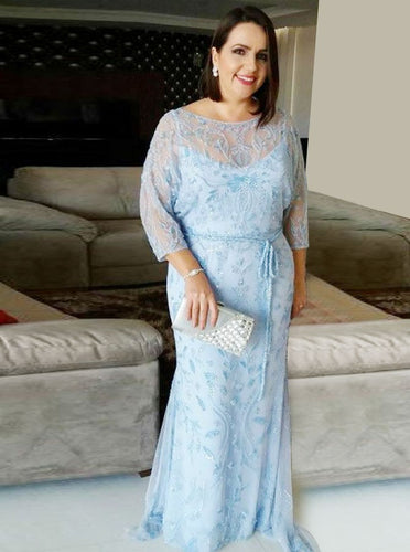 Long Sleeves Sheath Bateau Lace Plus Size Mother Of The Bride Dress with Sash