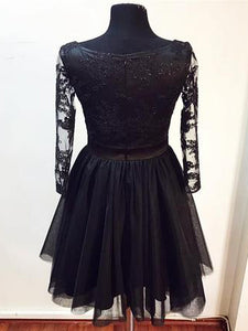 Lace Long Sleeve V-neck Little Black Dress, Short/Mini Party Dress UK Sale, OP150