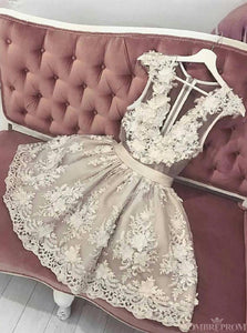 A-line V Neck Tulle Short Prom Dresses Appliques Homecoming Dress OM312