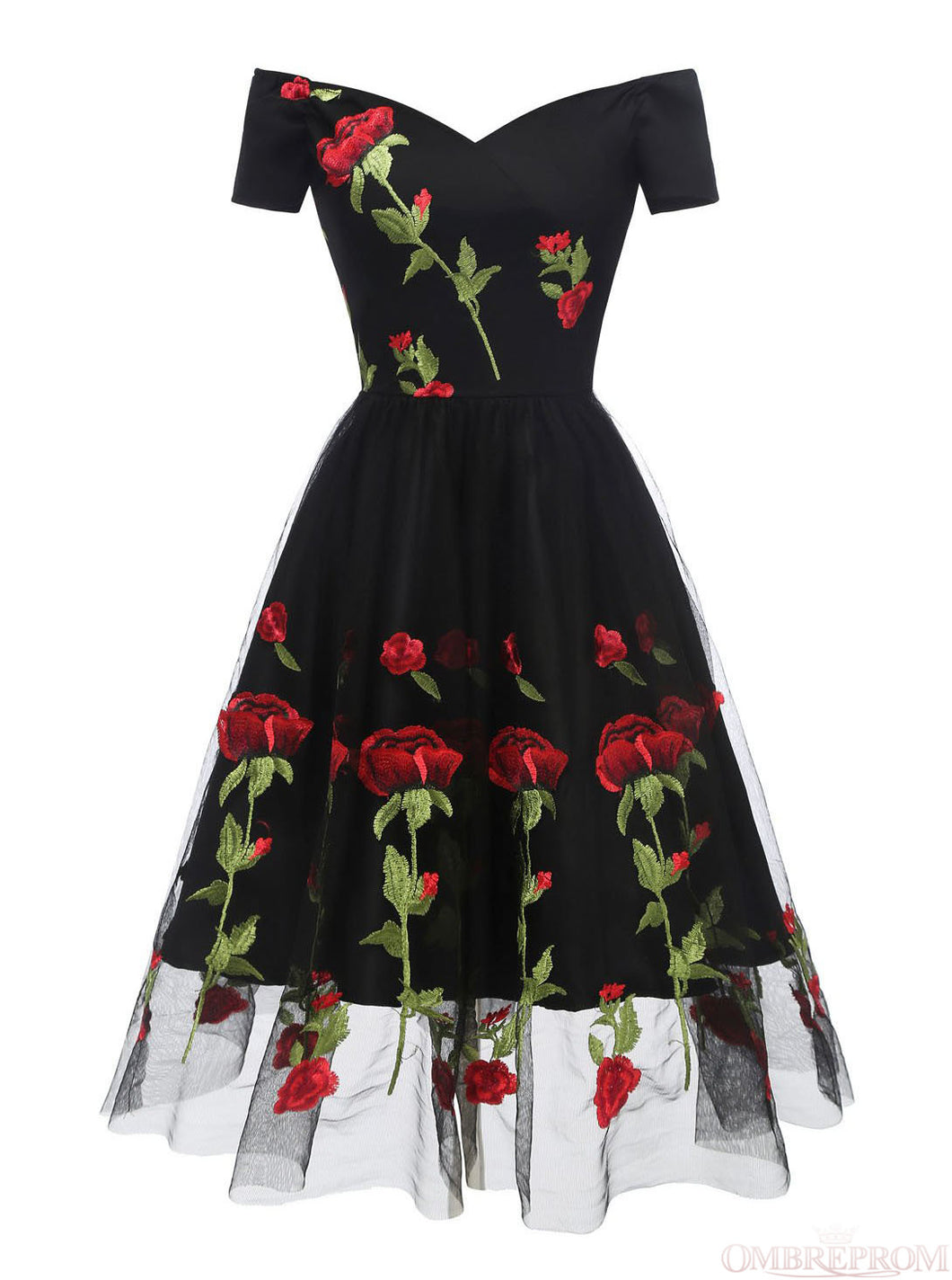 Off-Shoulder Floral Embroidery Prom Dresses Short Sleeves Party Dress OM313