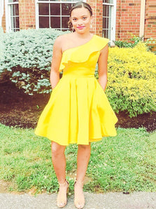 Ruffles One Shoulder Yellow Short Prom Homecoming Dress OM314