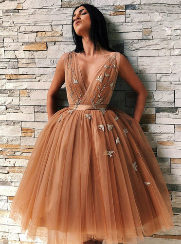 A-Line V-Neck Appliques Tulle Prom Dresses Backless Homecoming Dress OM195