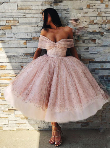 Princess Tea Length Prom Dresses Off-Shoulder Sparkly Homecoming Dress OM196