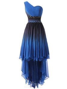 One-Shoulder High Low Blue Ombre Prom Dresses With Beading OP810