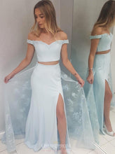 Off-Shoulder Two Piece Mermaid Prom Dresses With Over Skirt OP828