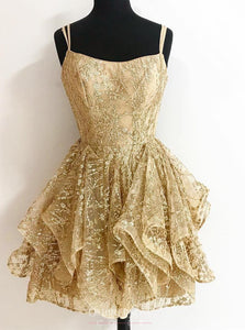 A-line Sequins Gold Short Prom Dresses Glitter Cocktail Party Dress OM199