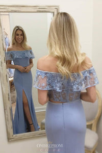Lace Off-Shoulder Blue Prom Dresses Two Piece Sheath Slit Party Gown OP825