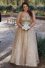 Spaghetti-straps V-neck Gold Lace Appliques Prom Dresses Plus Size Party Gown OP826