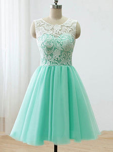 Lace Top Mint Green Tulle Homecoming Dresses Short Junior Bridesmaid Dress OM227