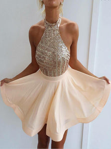 Sexy Sparkly Halter Short Prom Dress Backless Cocktail Party Dresses UK OM229