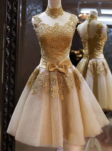 Tulle High Neckline Gold Lace Appliques Knee Length Prom Party Dresses OM224