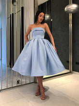 Simple Tea Length Light Blue Prom Dresses Strapless Homecoming Dress OM197
