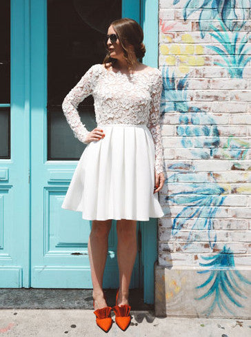 Charming Lace Long Sleeves Prom Dresses Short Wedding Party Dress OM203