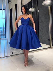 Royal Blue Short Prom Dresses A-line Sweetheart Homecoming Dress OM204