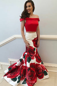 Off-the-Shoulder Floral Printed Two Piece Prom Dresses OP805