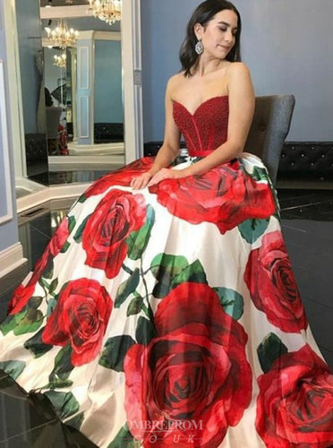 A-Line Sweetheart Rose Printed Prom Dresses with Beading OP807