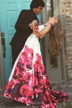 Two Piece Crew Floral Printed Prom Dresses Long Formal Gown OP808