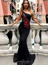 One-Shoulder Mermaid Black Prom Dresses with Red Embroidery OP797