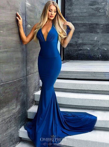Sexy Mermaid Backless Royal Blue Long Evening Prom Dresses OP800