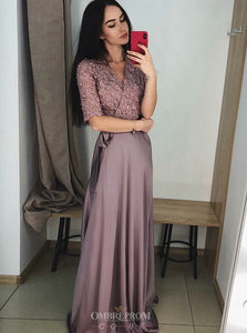 1/2 Sleeves Prom Dresses A-Line V-Neck Lace Formal Gown OP812