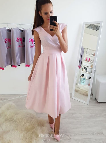 Simple A-Line V-neck Ankle-Length Pink Prom Dresses OM190