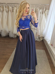 Dark Blue Prom Dresses Two Piece 3/4 Sleeves Appliques Graduation Gown OP813