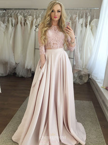 Jewel 3/4 Sleeves Pink Prom Dresses Two Piece with Pockets OP814