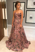Floral Print Prom Dresses A-Line Sweetheart Beading Waist Party Gown OP815