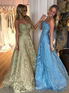 A-Line Strapless Prom Dresses Gold Lace Backless Party Dress OP811