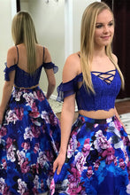 Drop Sleeves Two Piece Royal Blue Flowers Printed Prom Dresses with Pockets OP809