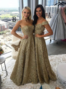 A-Line Off-the-Shoulder Lace Prom Dresses Gold Party Dress OP821