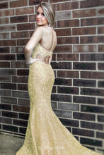 Mermaid Halter Gold Lace Long Prom Dresses With Sweep Train OP803