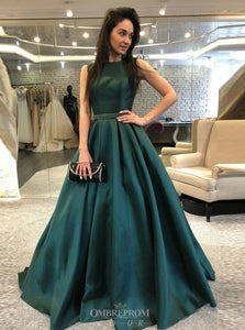 A-Line Spaghetti Straps Dark Green Backless Formal Prom Dresses OP804