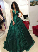 Sparkly Sequins Ball Gown Dark Green V-neck Prom Dress OP724