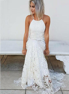 Simple Halter Mermaid Lace Wedding Dress, Beach Bridal Gown OW421