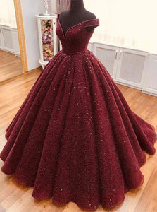 Sparkly Burgundy Quinceanera Dress V neck Ball Gown Prom Dress OP680