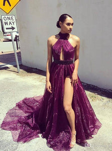 Purple Long Prom Dress Beaded V Neck Sexy Evening Gown OP687
