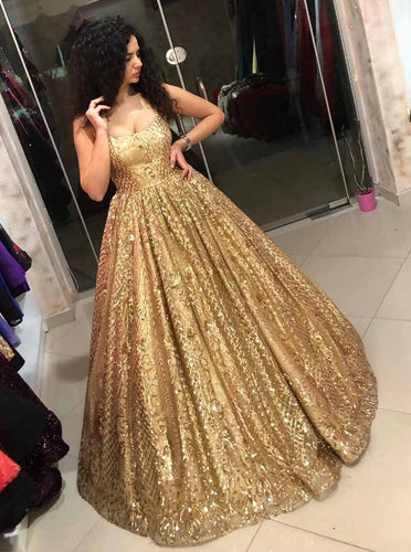 Straps Sequins Ball Gown Quinceanera Dress Gold Prom Dress OP725