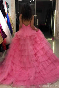 Princess Halter Pink Long Prom Dresses Backless Pageant Dress With Layers PO026