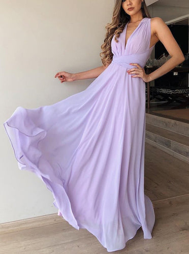 Flowy A-Line V-Neck Lilac Chiffon Long Bridesmaid Dress OB204