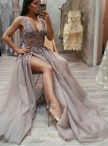 V Neck Appliques Beading Long Prom Dress Sexy Slit Evening Gown OP749